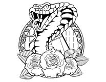 Cobra tattoo sketch with roses and leafes vintage neo traditional tattoo sketch. Hand drawn retro animal tattoo sketch with roses in vintage style. ornate vector illustration