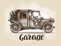 Hand-drawn retro auto Schets vectorillustratie Stock Afbeeldingen