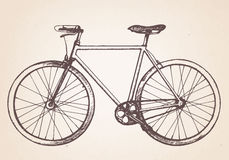 Hand drawn retro bicycle. Royalty Free Stock Image