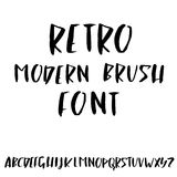 Hand drawn retro calligraphy font. Modern brush lettering. Grunge style alphabet. Vector illustration. Royalty Free Stock Photography