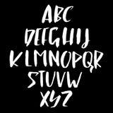 Hand drawn retro calligraphy font. Modern brush lettering. Grunge style alphabet. Vector illustration. Royalty Free Stock Image