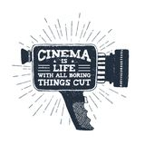 Hand drawn retro camcorder vector illustration. Hand drawn 90s themed badge with camcorder vector illustration and `Cinema is life with all boring things cut Royalty Free Stock Photos