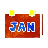 Hand drawn retro cartoon doodle of a calendar with jan. Illustrated hand drawn retro cartoon doodle of a calendar with jan vector illustration