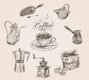 Hand drawn retro coffee set Stock Image