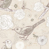 Hand drawn retro floral seamless pattern in craft paper tones Royalty Free Stock Photography