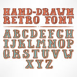 Hand-drawn retro font Royalty Free Stock Photo