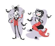 Hand drawn Retro illustration Halloween Characters. Creative Cartoon art work. Actual vector drawing Holiday Steampunk man and Mer. Maid. Artistic isolated royalty free illustration