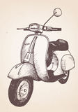 Hand drawn retro scooter. Vector Stock Image