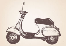 Hand drawn retro scooter. Vector. Elements Stock Photography