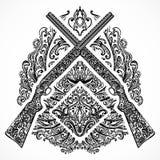 Hand drawn retro shotgun on ornate background in vintage style. Tattoo design element. Stock Image