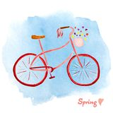 Hand-drawn retro style bicycle. Watercolor painting. Editable vector format. Cute and stylish ilustration with floral elements. Sp Royalty Free Stock Photos