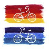 Hand-drawn retro style bicycle. Watercolor painting. Editable vector format. Cute and stylish ilustration. Spring or summer theme. Stock Image