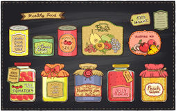 Hand drawn retro style illustration with canned goods set and tags on a chalkboard backdrop. Royalty Free Stock Photos