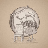 Hand drawn retro style lady bird Royalty Free Stock Photography