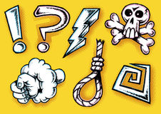 Hand Drawn Retro Styled Cartoon Doodle Cursing Ico Royalty Free Stock Photography