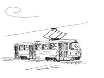 Hand drawn retro tram Stock Photos