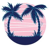 Hand drawn retro vawe illustration of pink sunset with blue palm trees vector illustration
