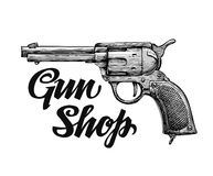 Hand drawn retro vector Firearm. Antique arms. Gun shop Royalty Free Stock Images