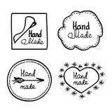 Hand-drawn retro vector hand-made badge Stock Photos