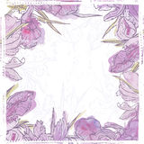 Hand drawn retro  watercolor iris flowers frame Stock Images