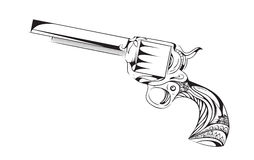 Hand drawn revolver with boho pattern. Stock Images