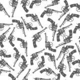 Hand Drawn Revolver Gun Seamless Pattern Vector Royalty Free Stock Images