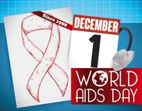 Hand Drawn Ribbon, Reminder and Stethoscope for World AIDS Day, Vector Illustration. Poster with a stethoscope, a ribbon in hand drawn style in paper and loose Stock Photo