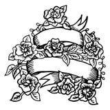 Hand-drawn ribbon with roses Stock Photo