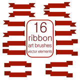 Hand drawn Ribbon vector brushes, graphic art brush set, banner  collection Stock Photo