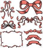 Hand Drawn Ribbons And Bows Royalty Free Stock Photography