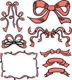Hand drawn ribbons and bows. In vector vector illustration