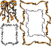 Hand drawn ribbons and bows. In vector royalty free illustration