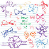 Hand drawn ribbons and bows set vector illustration. A collection of graphic ribbons and bows, design elements set Royalty Free Stock Images