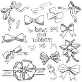 Hand drawn ribbons and bows set vector illustration. A collection of graphic ribbons and bows, design elements set Stock Image