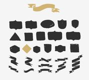 Hand drawn ribbons, icons and elements stock illustration