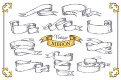 Hand drawn ribbons. Scroll elements for banner posters invitation cards and vintage logo. Vector engraving design stock illustration