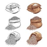 Hand Drawn Rice Sacks Vector Set. Sketch Rice Isolated On White Background Stock Photo