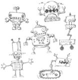 Robot doodles isolated stock illustration