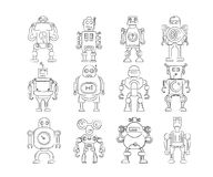 Hand drawn robot icons. Collection of 12 hand drawn robot icons Stock Illustration