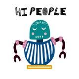Hand drawn robot isolated illustration. Cute character for kids,children,nursery. Vector art stock illustration