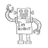 Hand Drawn Robot isolated on white background. Vector Royalty Free Stock Image