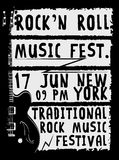 Hand drawn Rock festival poster. Rock and Roll sign. Hand drawn Rock festival poster. Rock and Roll sign fashion style Stock Photography