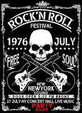 Hand drawn Rock festival poster. Rock and Roll sign. Fashion style new graphic Royalty Free Stock Photo
