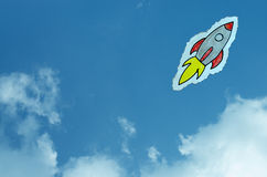 Hand Drawn Rocket in the Sky Royalty Free Stock Images