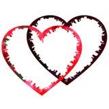 Hand-drawn rode het hartrand aan flarden van de waterverf weefselvalentijnskaart royalty-vrije illustratie