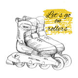 Hand drawn roller skate. Graphic object for sport. Stock Photo