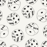 Hand drawn rolling dice seamless pattern.  Stock Image