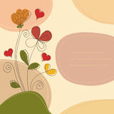 Hand drawn romantic background. Romantic background with flowers, hearts, curlicues and place for text Royalty Free Stock Photo
