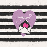 Hand drawn romantic card with heart Royalty Free Stock Photography