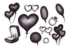 Hand drawn romantic collection. Set of balloons, a wedding ring in a box, rings, hearts, balloons. Stock Photography